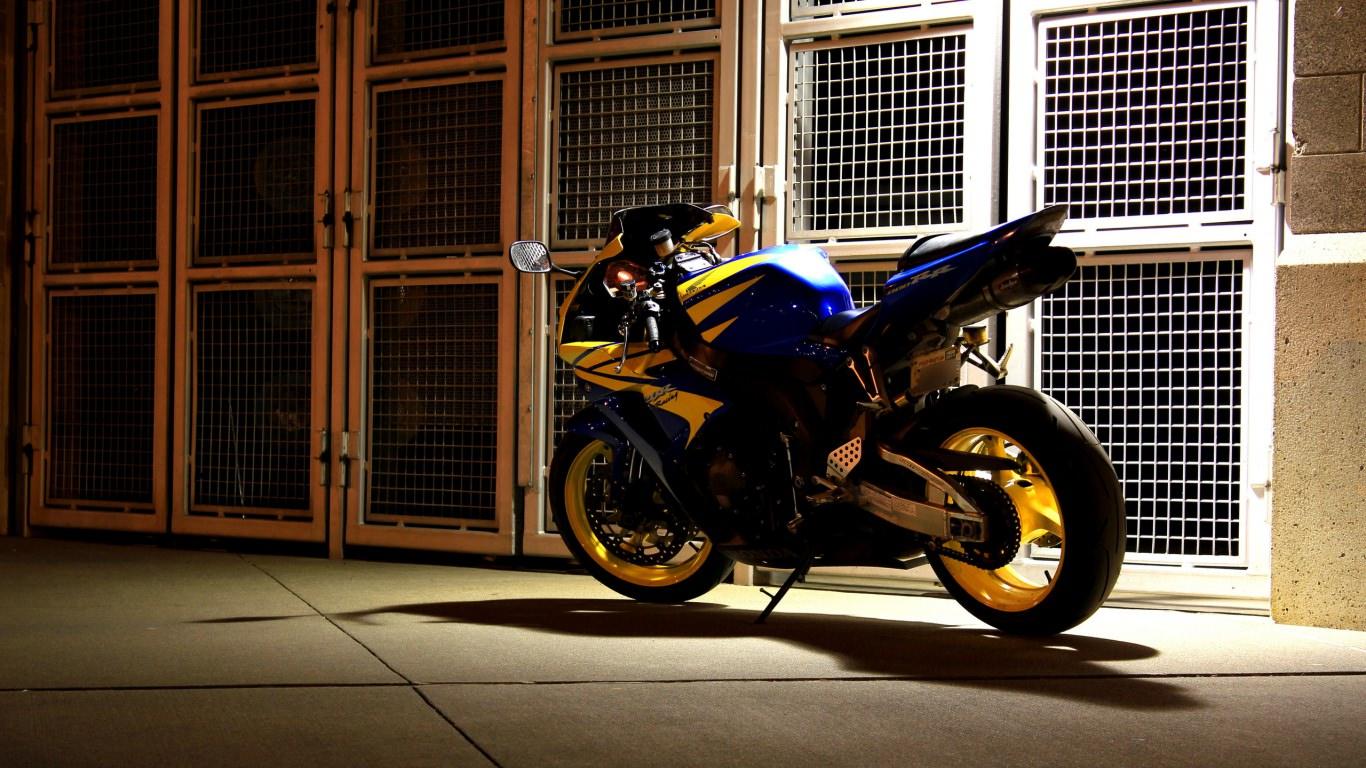 Motorcycle at Backyard Wallpaper