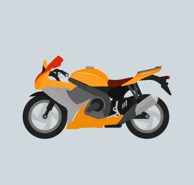 Motorcycle in Flat Graphics Design