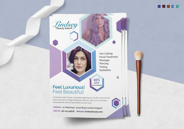 multipurpose beauty salon flyer template in word