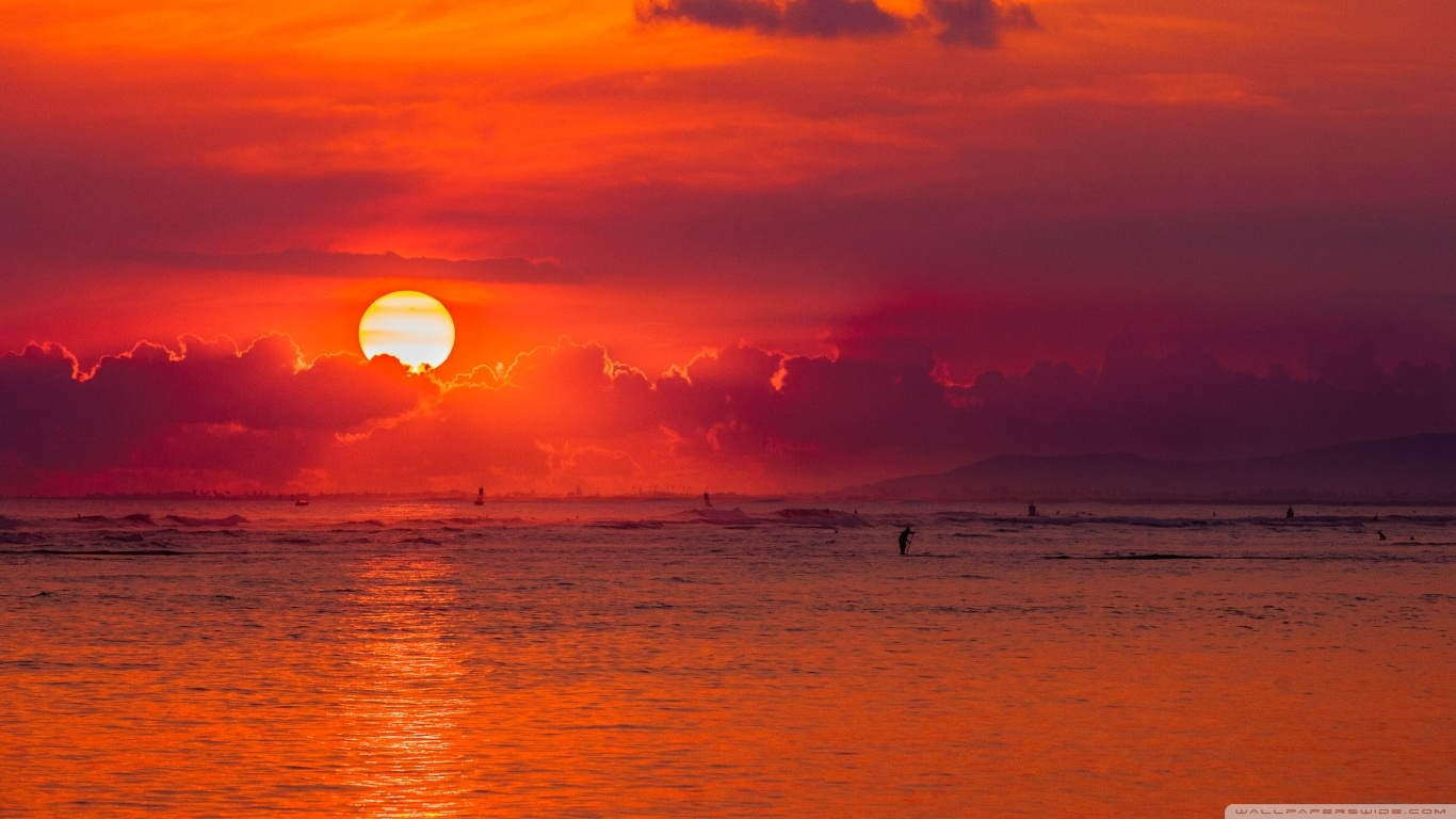 Oahu Hawaii Island Sunset Wallpaper