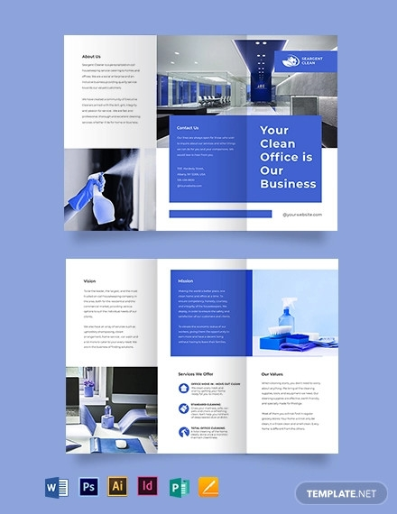 office cleaning service tri fold brochure template