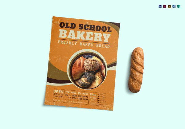 old school bakery flyer template in psd