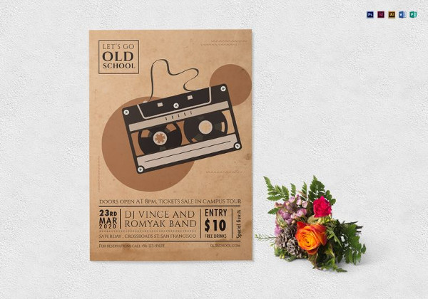 old school music flyer template