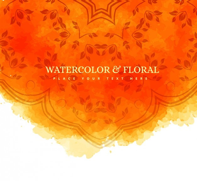 Orange Watercolor and Floral Background