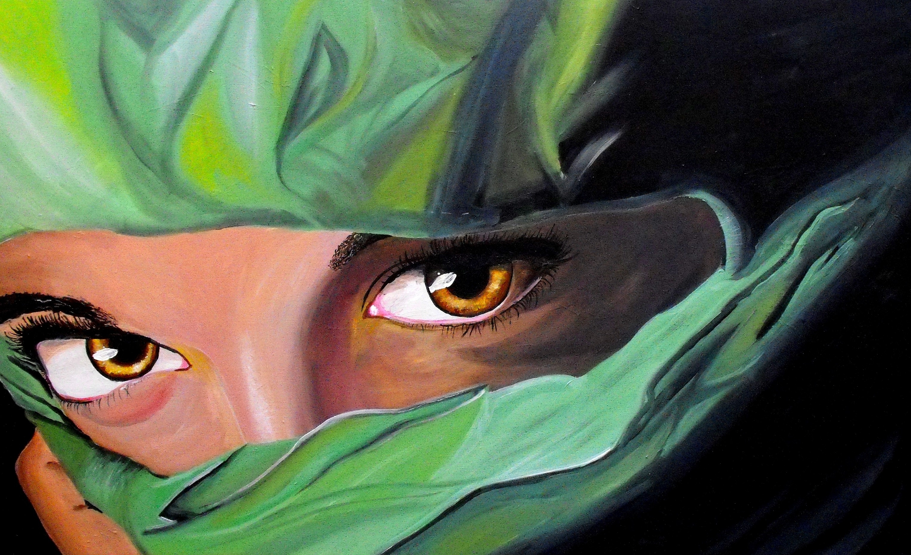 Painting Girl Art with Beautiful Eyelashes and Green Scarf