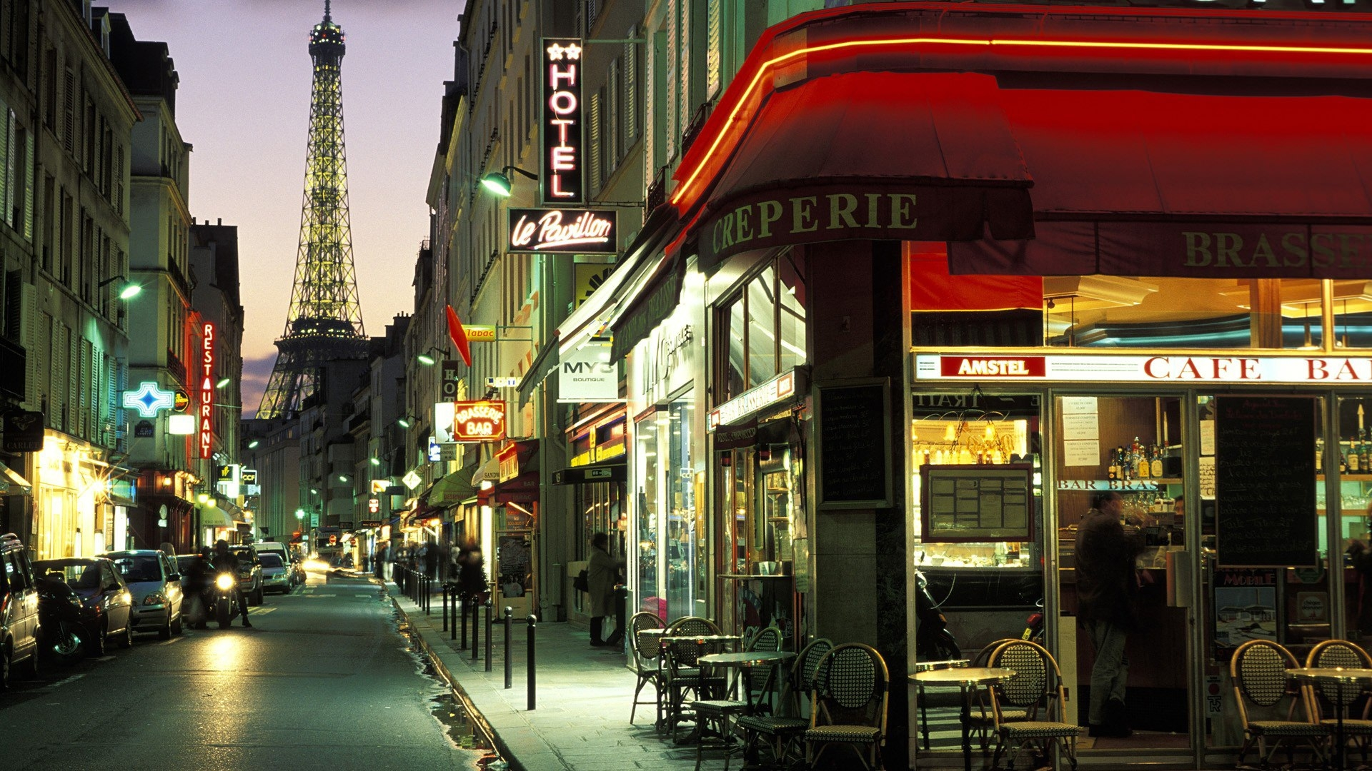 Paris Streets in Evening Background