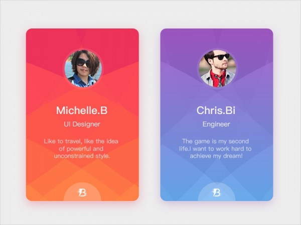 Personal UI App Card Design