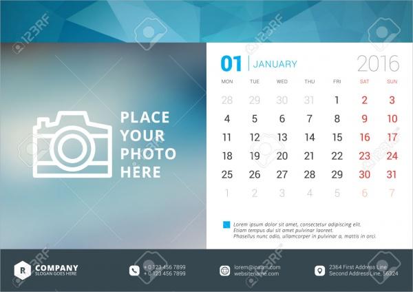 Photography Business Organization Calendar