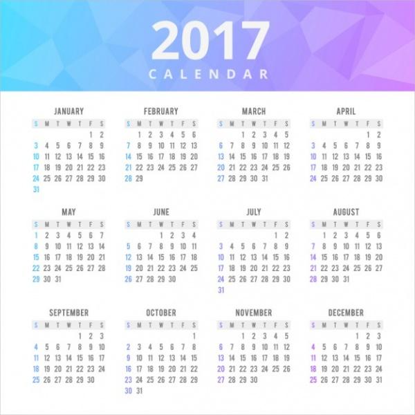 Polygonal Shapes Business Calendar Design