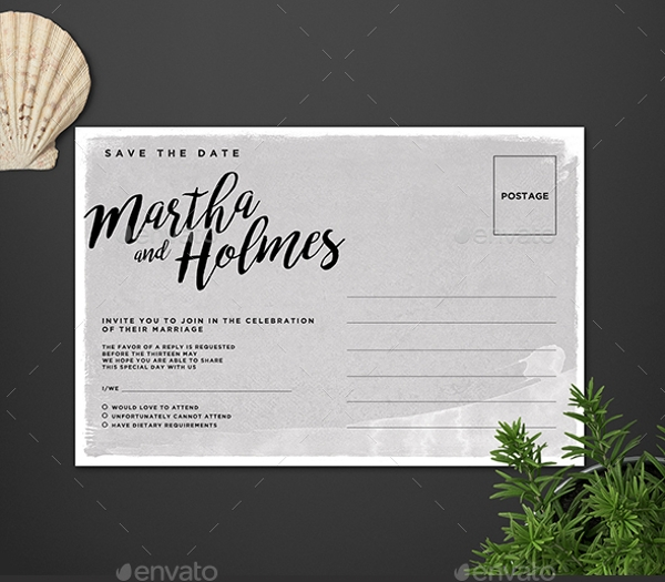 Post Card Wedding Invitation Design Template