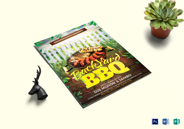 printable backyard bbq flyer template