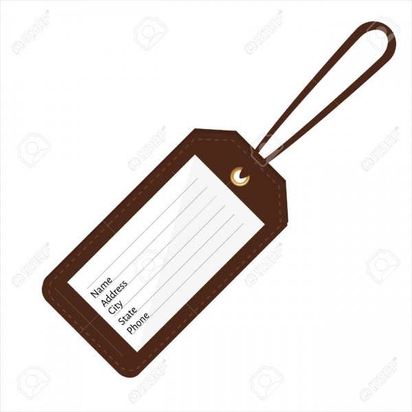 Printable Brown Leather Luggage Tag