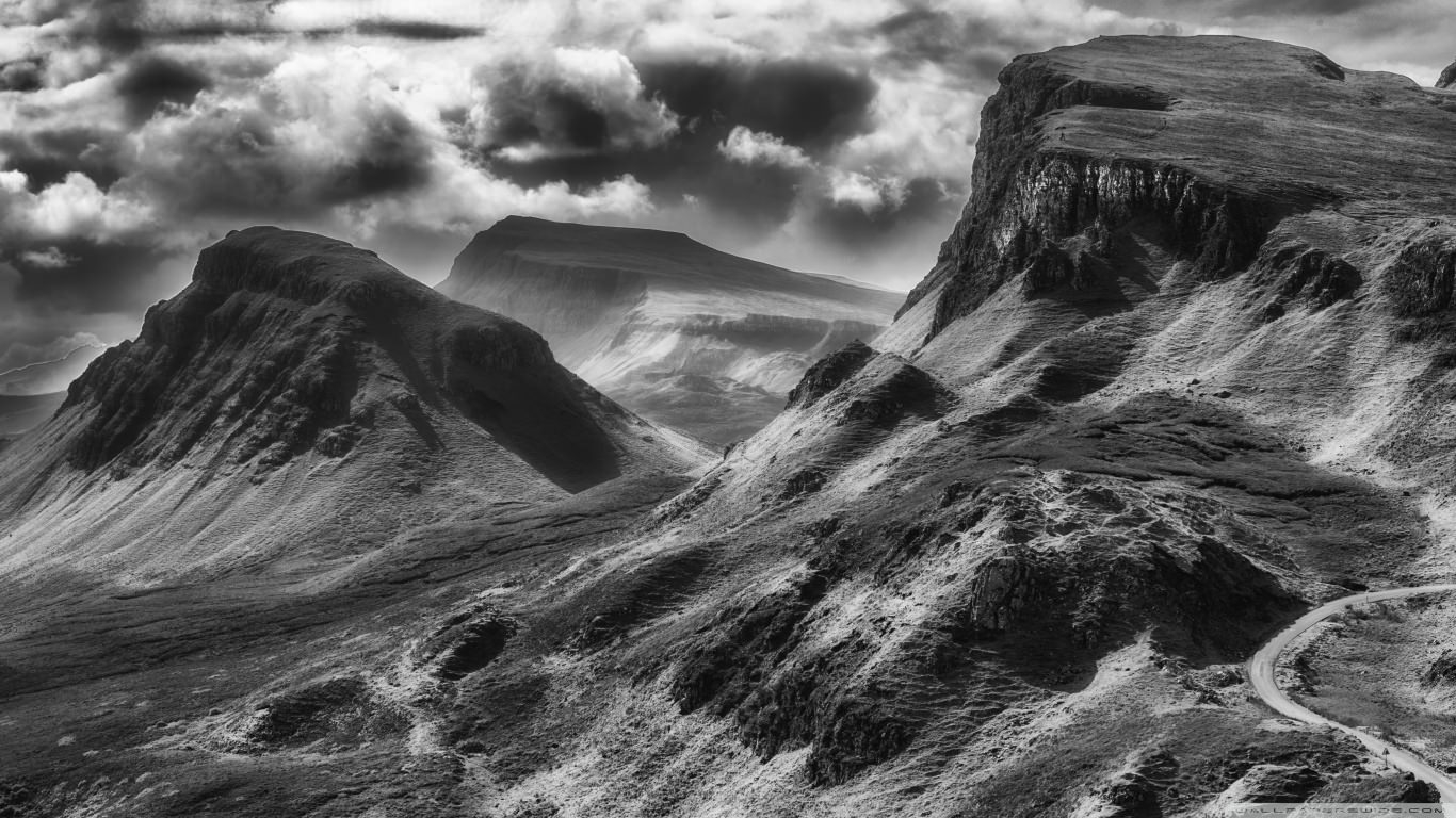 Quiraing Black & White Wallpaper