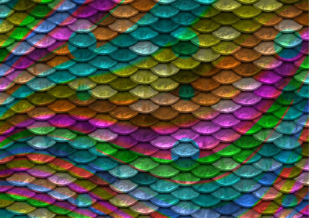 Rainbow Colored Fish Scales Pattern
