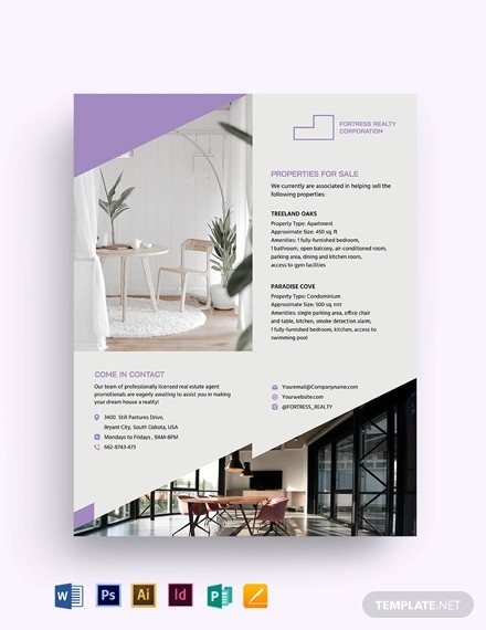 real estate agent agency promotional flyer template