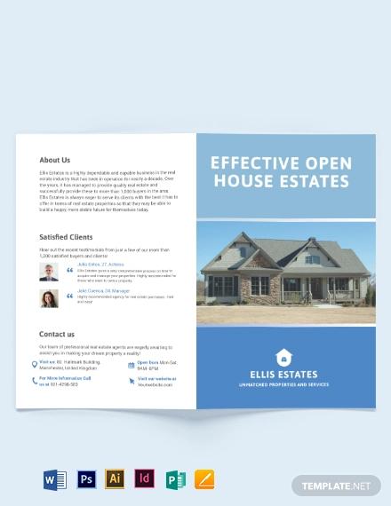 realestate community bi fold brochure template
