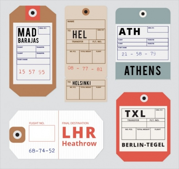 Realistic Free Luggage Tag Template