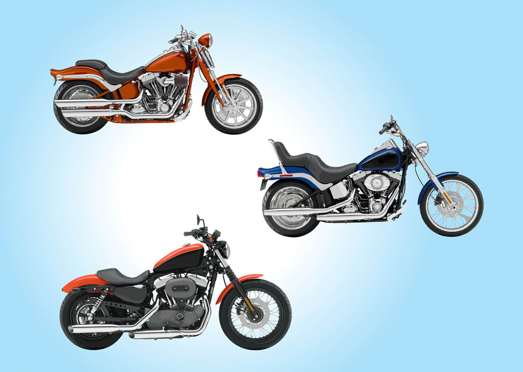 Realistic Motorcycle Vector Graphics