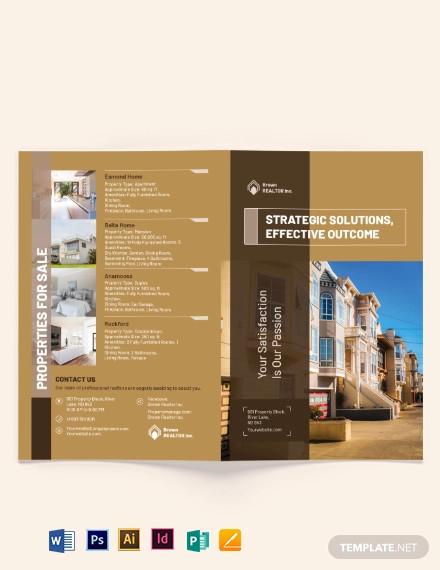 realtor self promotion bi fold brochure template