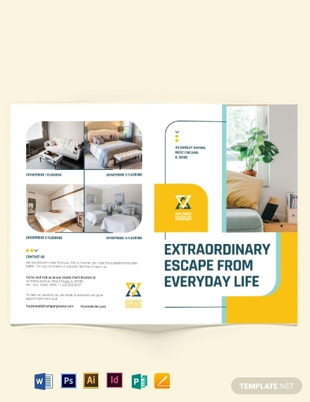 residential apartment bi fold brochure template