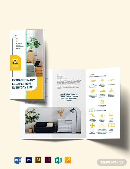 residential apartment tri fold brochure template