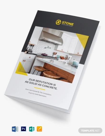 residential construction bi fold brochure template