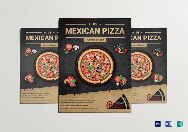 Restaurant Mexican Pizza Flyer to Print