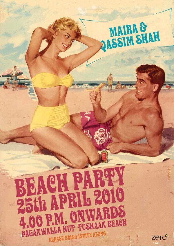 Retro Small Beach Party Invitation Design