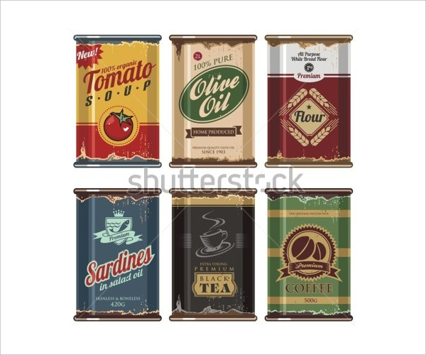 Retro & Vintage Food Can Packaging