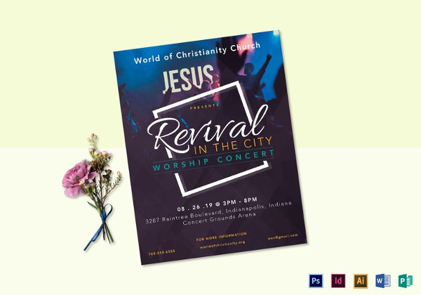 revival worship concert flyer template