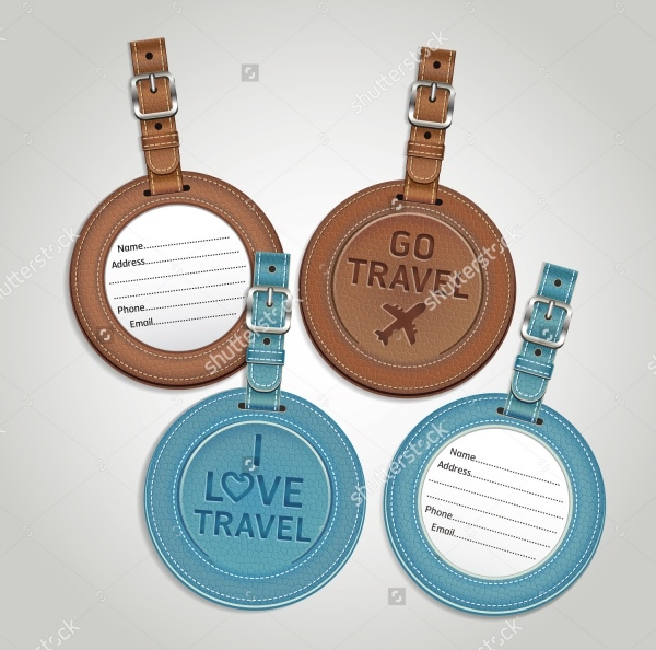Round Leather Luggage Tags Labels