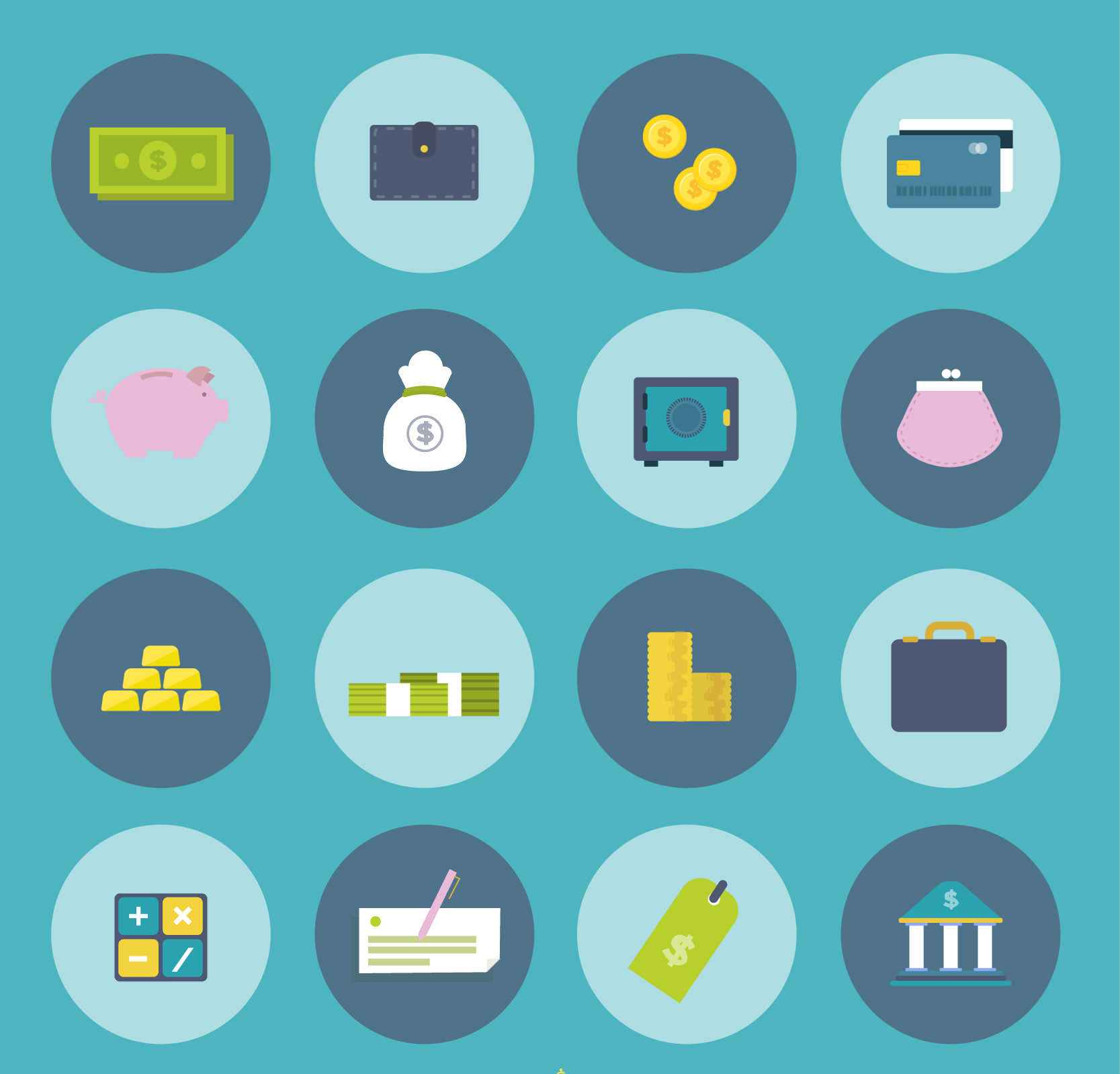 Rounded Flat Financial Icons