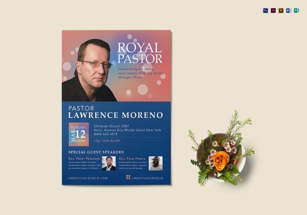royal pastor flyer template in indesign