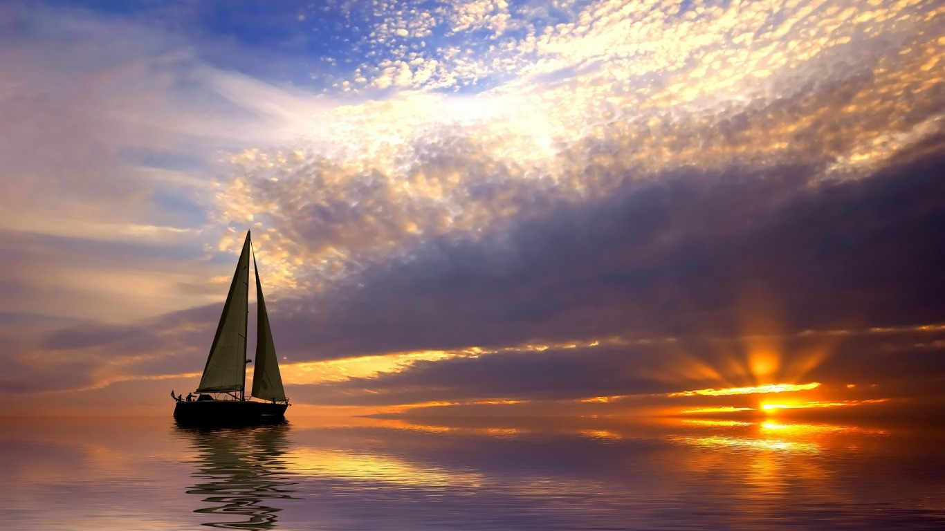 Sailing at Sunset Wallpaper