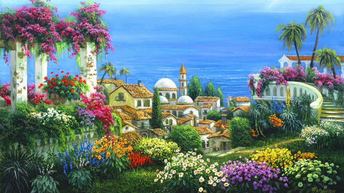 Seaside Village Painting Wallpaper