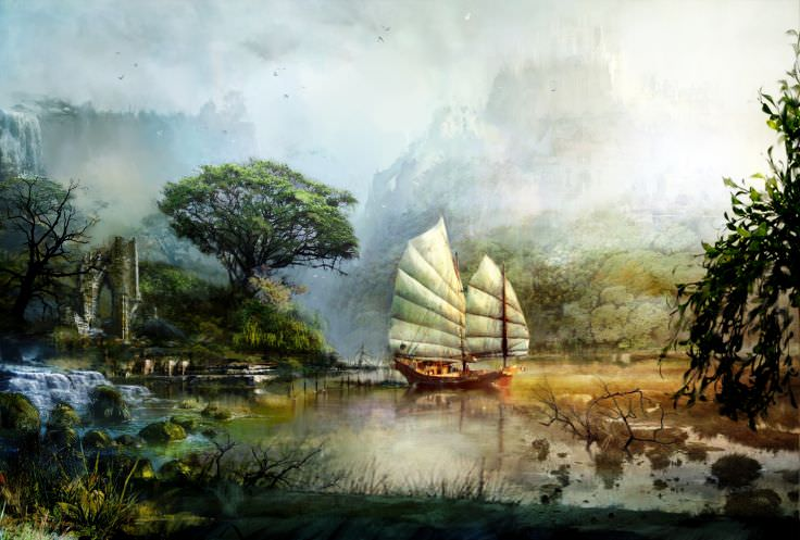 Ship Sailing Scenery Wallpaper