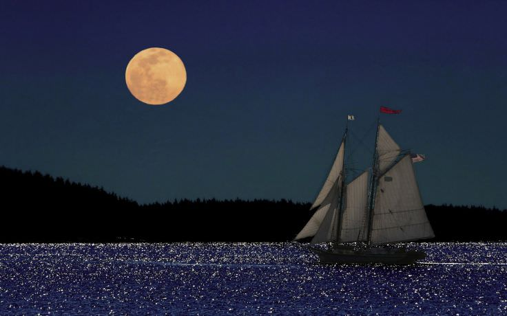 Ship Sailing at Night Wallpaper