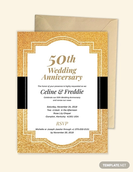 simple 50th wedding anniversary invitation