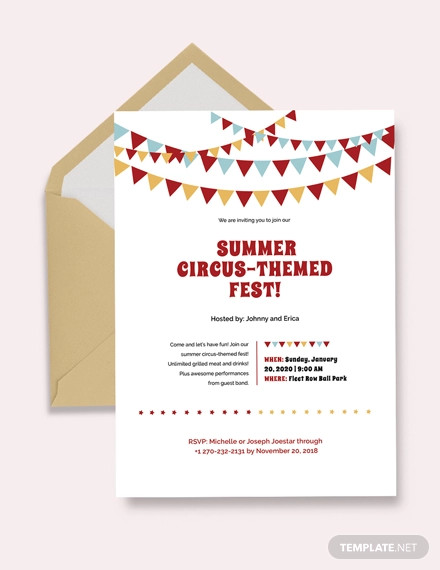 simple circus invitation