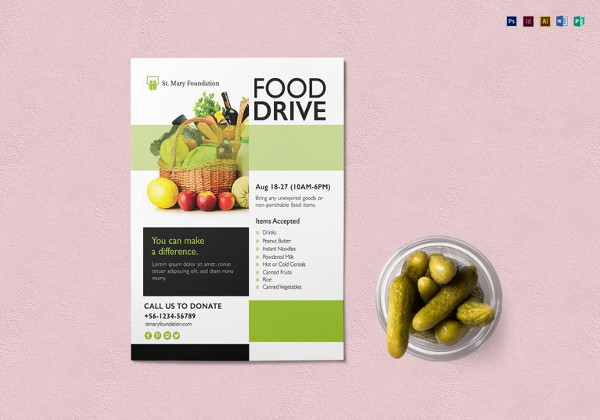 Simple Food Drive Flyer Template