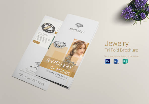 23 jewelry brochure psd vector eps jpg download for Simple tri fold brochure template