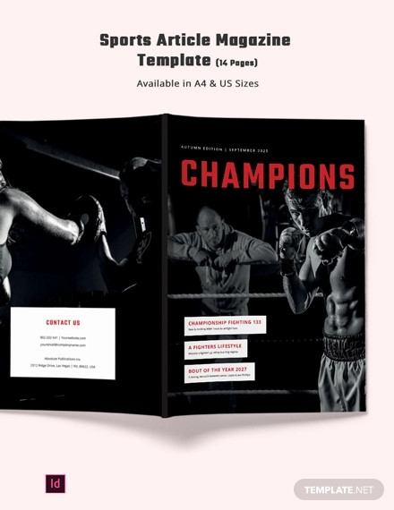 sports article magazine template