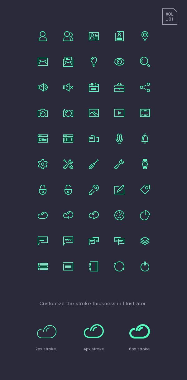 Stroke Gap Icons Set Vol.1