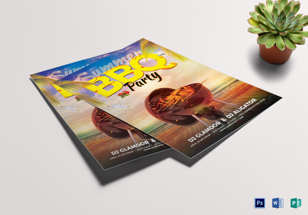 summer bbq flyer template in psd