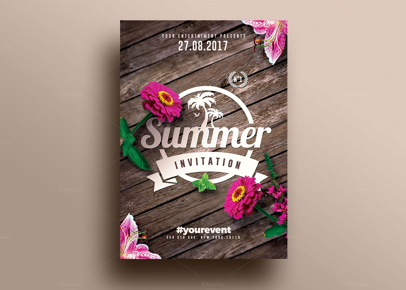 Summer Beach Party Invitation Template Design