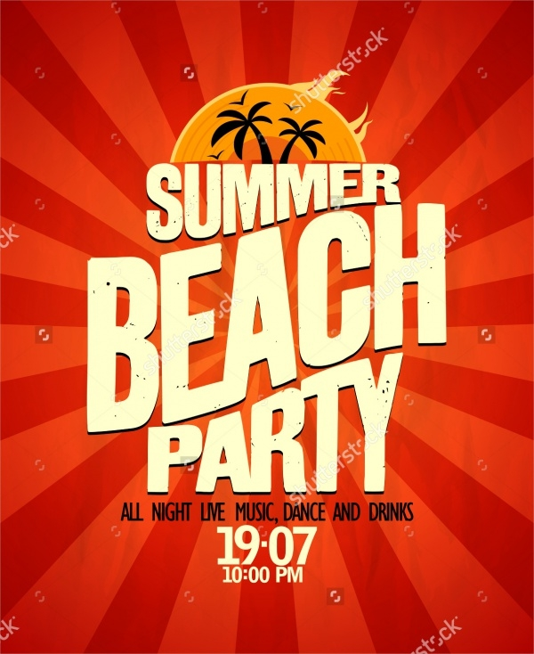 Summer Beach Party Typographical Invitation