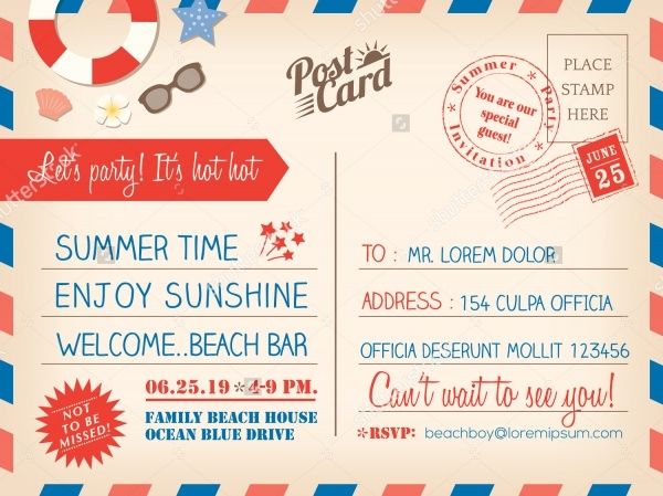 summer holiday postcard invitation