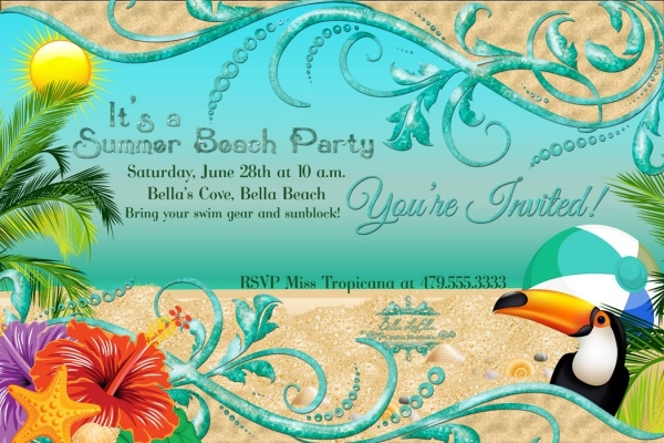 Summer Time Beach Party Invitation Design