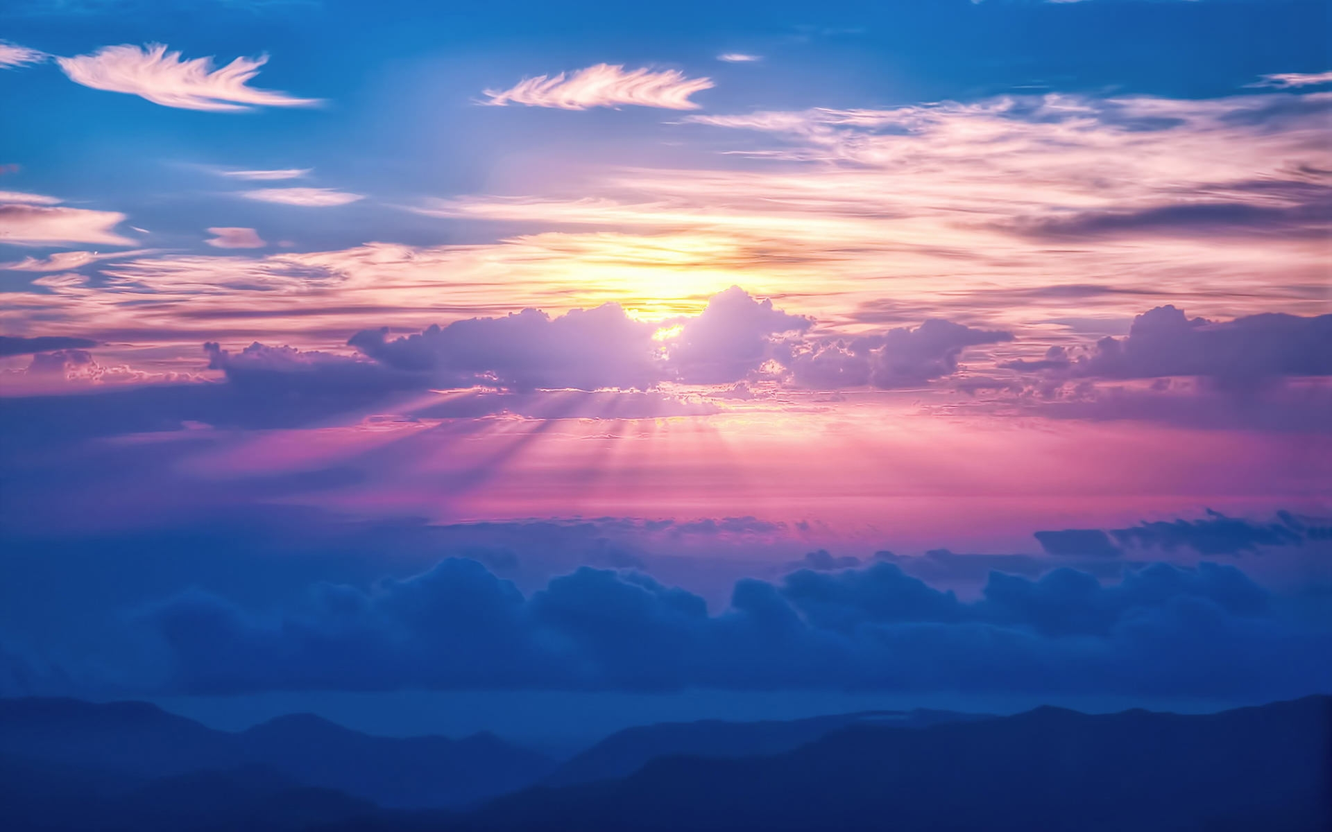 Sun Rays Sky Clouds HD Wallpaper