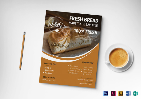tasty bakery flyer template in psd